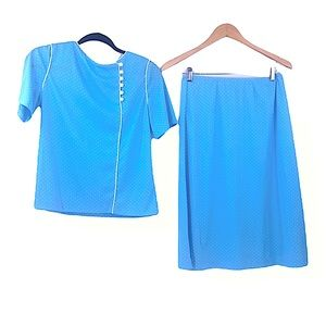 Vintage handmade top and skirt set blue with dots